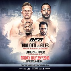 RFA 41 – Gigliotti vs. Giles: Middleweight Showdown in San Antonio, Texas on July 29th