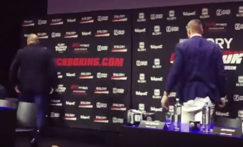 Badr Hari walks off stage in face off with Verhoeven!