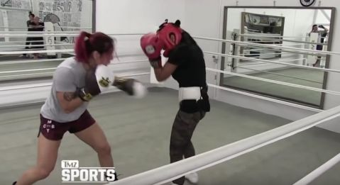 Cris Cyborg spars with boxing legend Mia St. John ahead of UFC 219 (VIDEO)