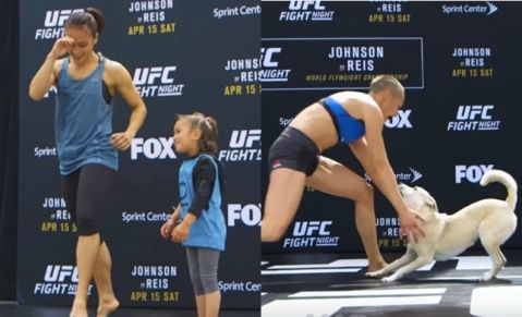 Waterson brought her daughter and Rose Namajunas brought her dog to Open Workout